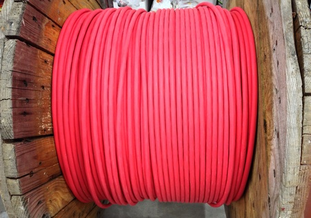 wire: Red network cable wire at big coil