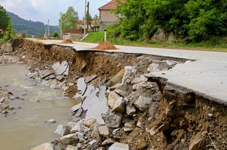 leftovers: Road leftovers after natural distruction river flooding
