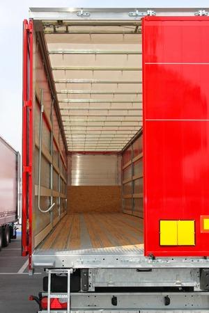 Rear view of empty semi truck lorry photo