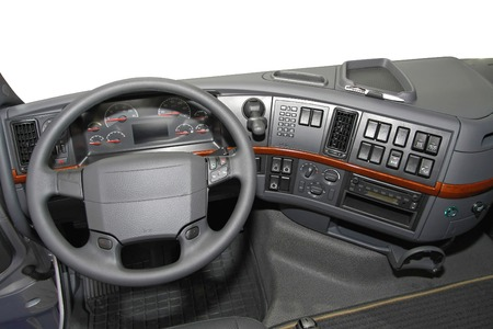 dash: Dashboard view from big truck driver seat