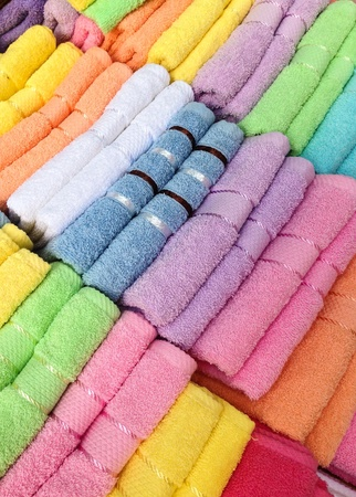 Bunch of colorful cotton towels