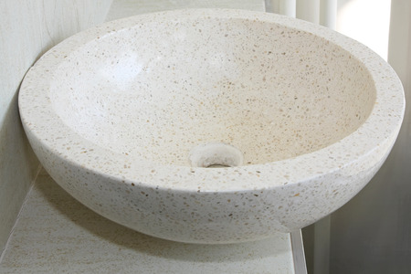 bowl sink: Marble stone round sink bowl in modern bathroom Stock Photo