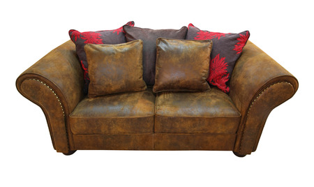 Leather sofa isolated included clipping path