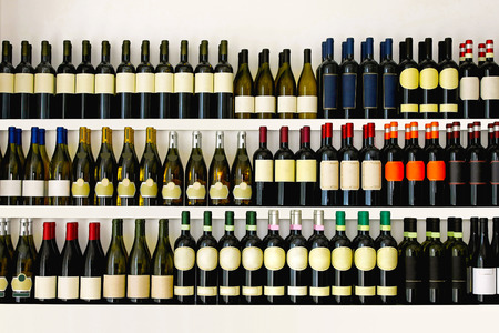 Shelves with big wine collection