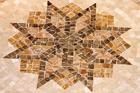 octagonal: Mosaico de m�rmol con forma de estrella octogonal