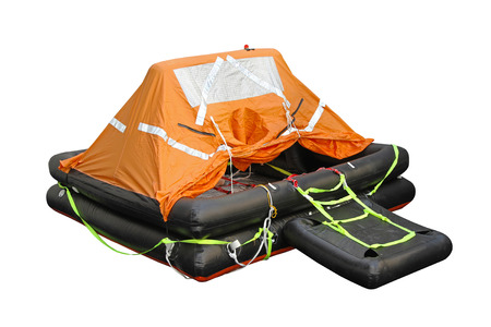 lifeboat: Inflatable life raft isolated Stock Photo