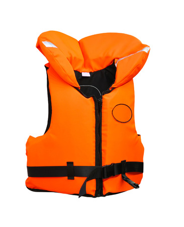 lifevest: Florescent orange lifevest isolated included clipping path Stock Photo