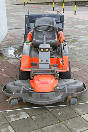 gasoline powered: Big red petrol powered riding lawn mower