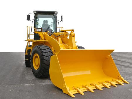 diggers: Yellow digger with big bucket Stock Photo