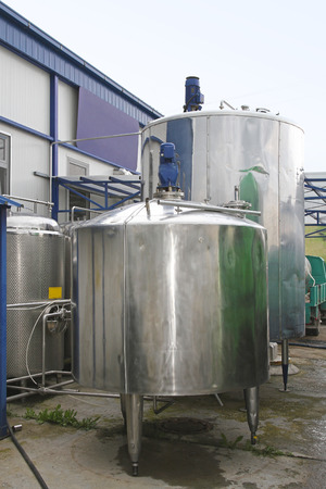 milk production: Dairy factory tanks for milk chilling and refrigeration