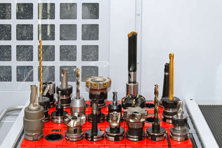 bits: Collection of driling and milling tools for CNC machine Stock Photo