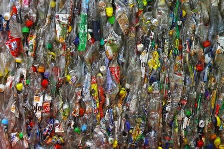 compacted: BELGRADE, SERBIA - OCTOBER 13  Recycicling plastic in Belgrade on OCTOBER 13, 2010  Crushed plastic bottles and compacted for recycle in Belgrade, Serbia