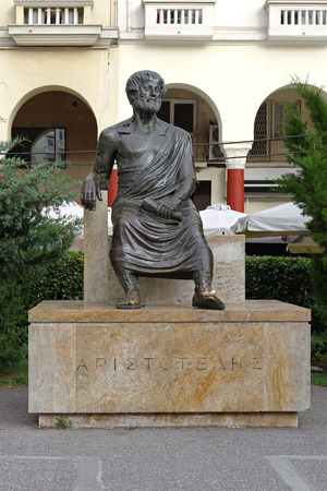 THESSALONIKI, GREECE - JUNE 30  Aristotle statue in Thessaloniki on JUNE 30, 2011  Greek philosopher Aristotle sculpture at city square in Thessaloniki, Greece