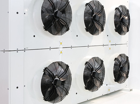 chiller: Six industrial fans for big air conditioner Stock Photo