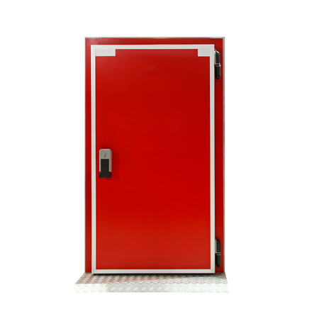 insulate: Insulated red door at industrial refridgerator reefer