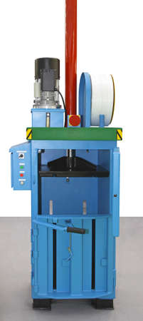 compacting: Hydraulic baling press machine for compacting plastic waste Stock Photo