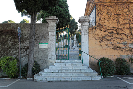 israelite: NICE, FRANCE - JANUARY 18  Cimetiere du chateau in Nice on JANUARY 18, 2012  Entrance to cemetery Israelite in Nice, France