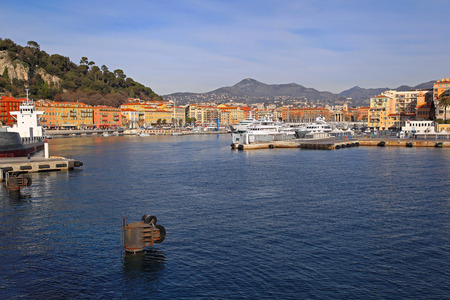 NICE, FRANCE - JANUARY 21 Port in Nice on JANUARY 21, 2012  Old port at sunny aftrnoon Nice, France