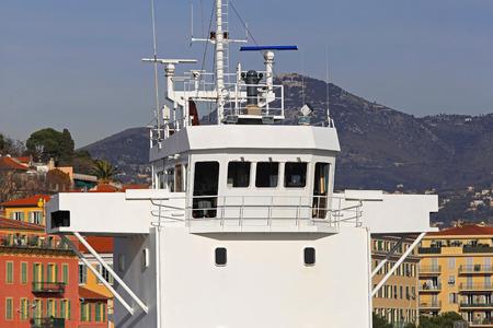 wheelhouse: White Ship bridge with radar and antennas