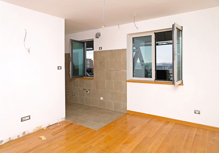 New refubrish and empty room in small apartment Stock Photo - 27942749
