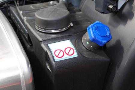 Diesel exhaust fluid additive for trucks Stock Photo