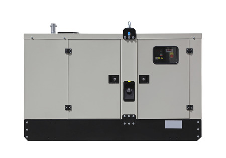 diesel generator: Mobile diesel generator for emergency electric power isolated Stock Photo