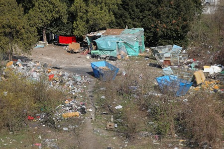 refugee: Illegal camp settlement of ethnic Gypsies Romani