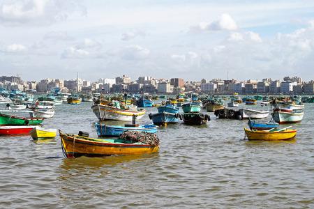 alexandria egypt: ALEXANDRIA, EGYPT - FEBRUARY 28  Alexandria harbour on FEBRUARY 28, 2010  Fisherman boats and harbour in Alexandria, Egypt  Editorial