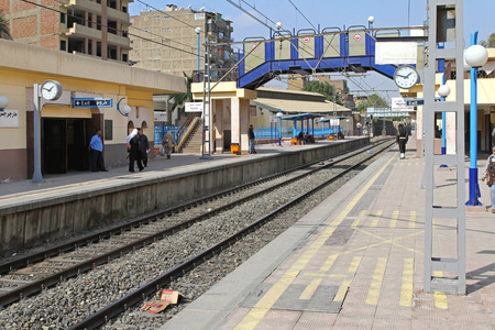 cairo: CAIRO, EGYPT - MARCH 01  Metro platform in Cairo on MARCH 01, 2010  Metro platform overground rapid transport in Cairo, Egypt  Editorial