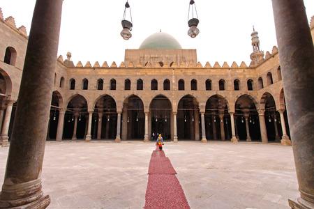 corridors: CAIRO, EGYPT - FEBRUARY 24  Mosque courtyard in Cairo on FEBRUARY 24, 2010  Mosque courtyard with arcaded corridors at Citadel in Cairo, Egypt