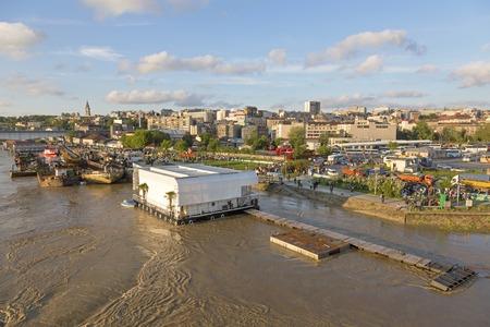 belgrade: BELGRADE, SERBIA - MAY 17  Preparing for floods in Belgrade on MAY 17, 2013  Preparing sandbags flood barrier at River Sava banks in Belgrade, Serbia  Editorial