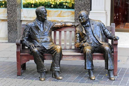 allies: LONDON, UNITED KINGDOM - NOVEMBER 21  Allies bronze sculpture in London on NOVEMBER 21, 2013  Franklin D Roosevelt and Sir Winston Churchill at bench New Bond Street in London, United Kingdom