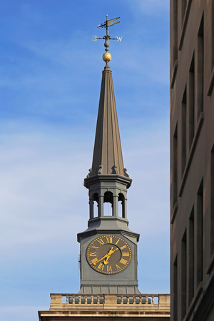 piccadilly: St James Piccadilly Church clock and spire with weather vane