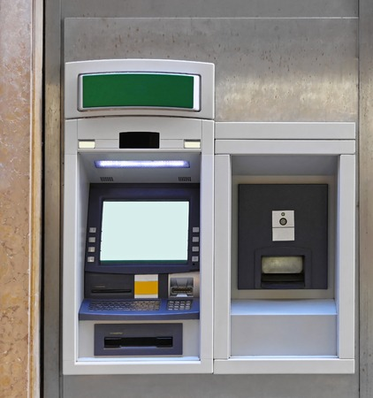 automatic teller machine bank: ATM cash point and night safe Stock Photo