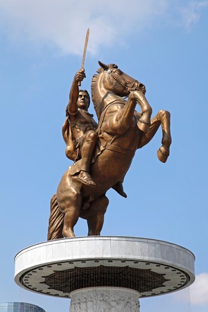alexander: SKOPJE, MACEDONIA - SEPTEMBER 17  Warrior on a Horse in Skopje on SEPTEMBER 17, 2012  Alexander the Great equestrian statue in Skopje, Macedonia  Editorial