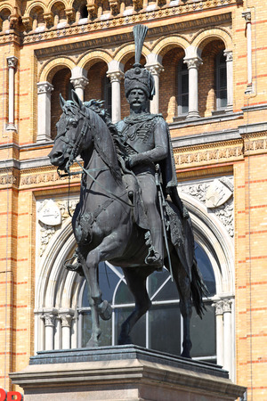 ernest: HANOVER, GERMANY - MAY 03  Ernest Augustus I in Hanover on MAY 03, 2011  Equestrian statue of the King in the uniform of the hussars in Hannover, Germany