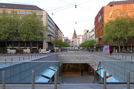ernest: HANOVER, GERMANY - MAY 06  Ernest August Platz in Hanover on MAY 06, 2011  Subway underpass with shopping mall in Hannover, Germany