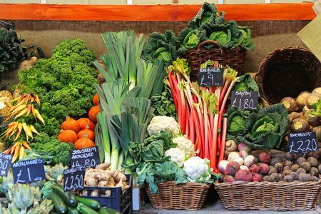 Organic green vegetables at farmers market photo