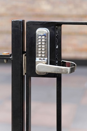 pad lock: Electronic lock with pin code at fence