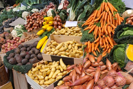 Farmers market stall with organic vegetables photo