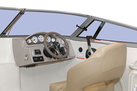 nautic: Motor boat steering wheel modern dashboard in cockpit