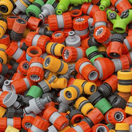 fittings: Colorful plastic hose fittings and adapters