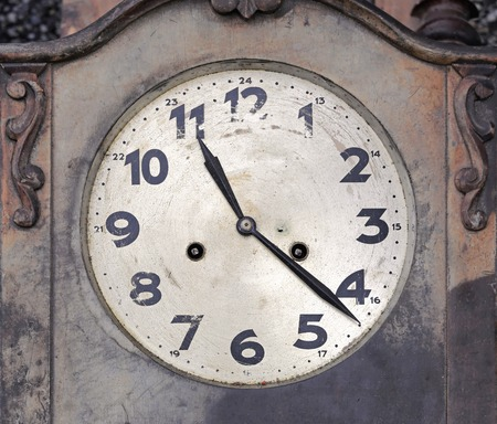 wall clock: Decayed wooden vintage wall clock