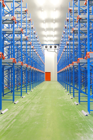 freezer: Refrigerated and freezing warehouse with blue shelves Editorial
