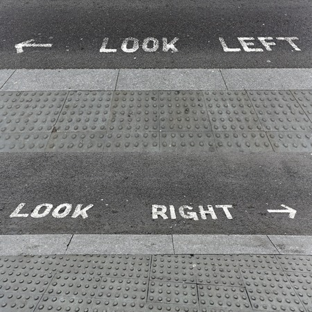 look at right: Look left and look right at pedestrian crossing
