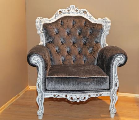 upholster: Classics style armchair with velvet upholster in corner