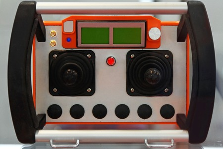 command button: Industrial wireless remote control unit for construction crane Stock Photo