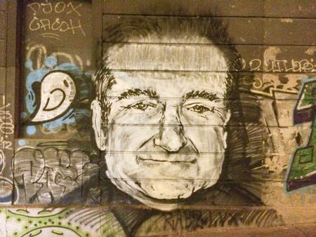 serbia: Robin Williams tribute memorial graffiti mural in Belgrade Serbia