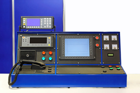 proffessional: Dispatcher console desk in control room Stock Photo