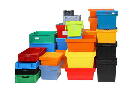 Crates and boxes for delivery shipping isolated included clipping path photo